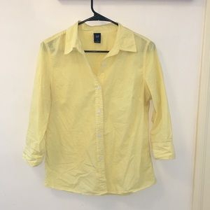 Yellow gingham button up shirt